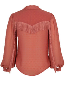 MINKPINK CARRINGTON FRINGE SHIRT CLAY