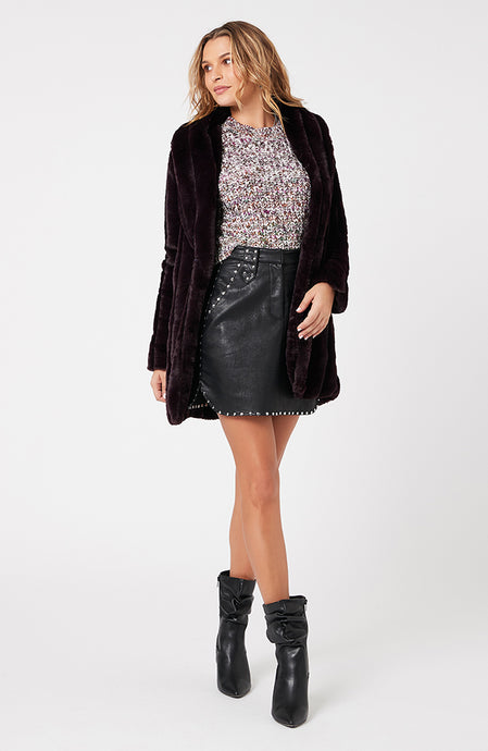 MINKPINK MARYANA FAUX FUR JACKET PLUM