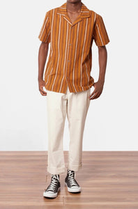 RHYTHM VACATION STRIPE SHORT SLEEVE BUTTON UP