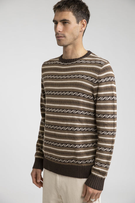 RHYTHM VINTAGE STRIPE KNIT SWEATER BROWN
