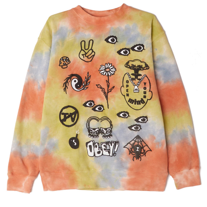 OBEY OPEN YOUR MIND PREMIUM TIE DYE CREWNECK