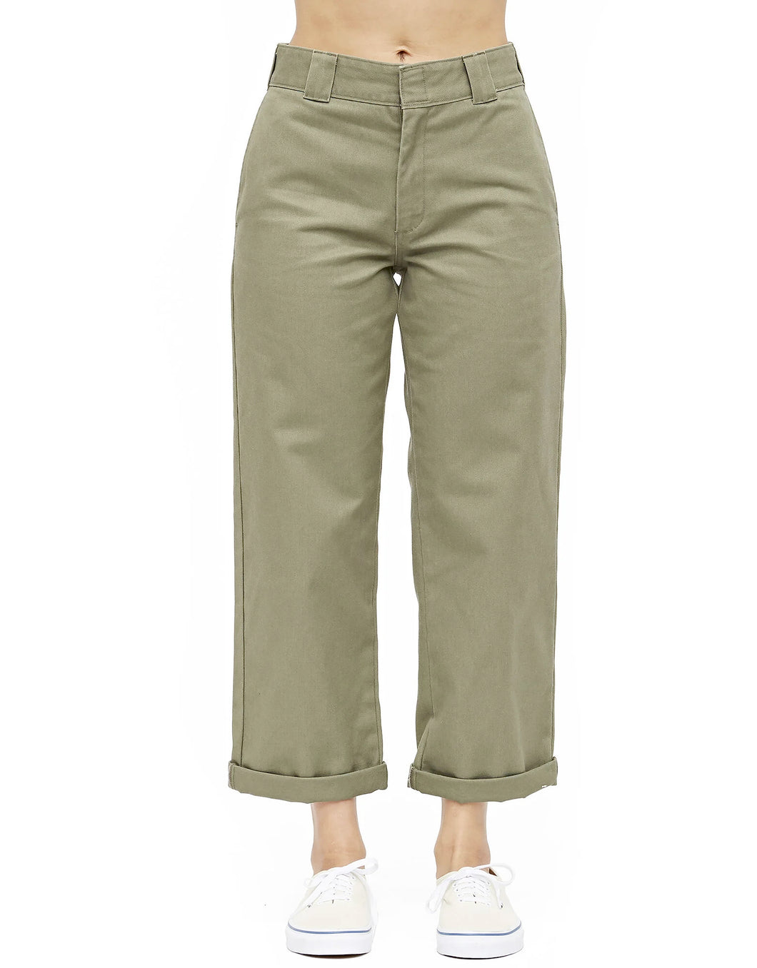 DICKIES HIGH RISE CROPPED WORK PANTS OLIVE
