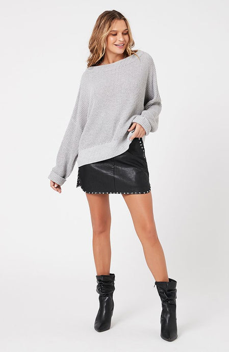 MINKPINK JAYDEN KNIT SWEATER GREY