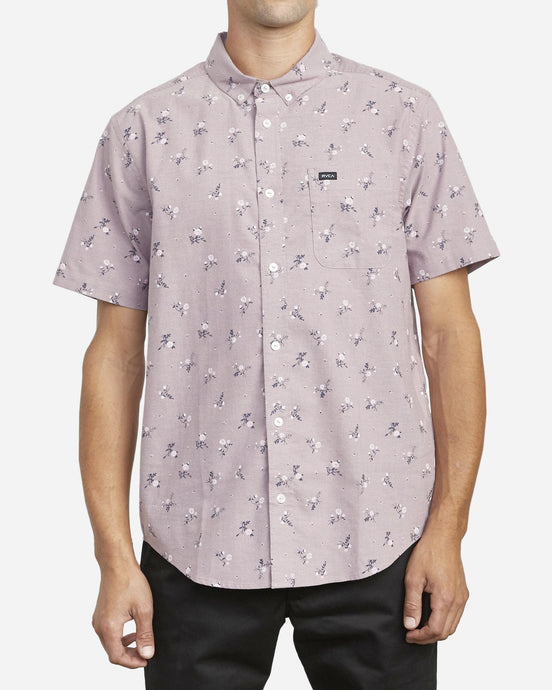 RVCA THAT'LL DO PRINTED BUTTON-UP SHORT SLEEVE MERLOT