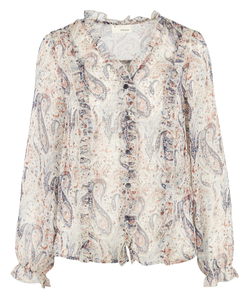 THE KORNER V-NECK SHEER RUFFLED BLOUSE