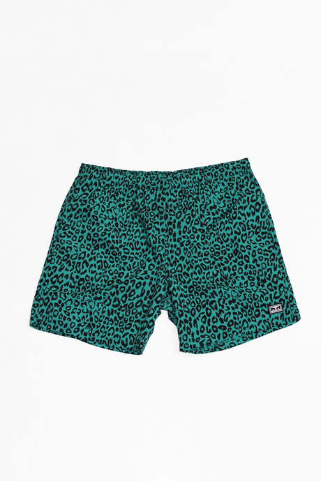 OBEY DOLO TEAL LEOPARD SHORTS