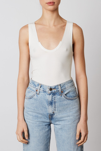 NIA SCOOP NECK RACER TANK WHITE