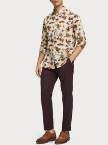 SCOTCH AND SODA ISLAND PRINT LONG SLEEVE BUTTON UP