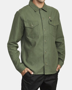 RVCA MENS FUBAR SHIRT JACKET SEQUOIA GREEN