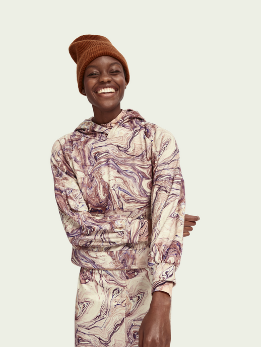 SCOTCH AND SODA MARBLE LONG SLEEVE HOODIE