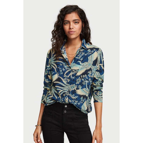 SCOTCH & SODA OVERSIZED CRANE PRINT BLOUSE