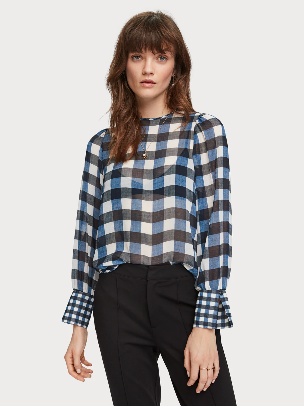 SCOTCH AND SODA WOMEN'S SHEER CHECKED TOP