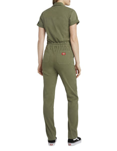 DICKIES SHORT SLEEVE BUTTON OLIVE COVERALL