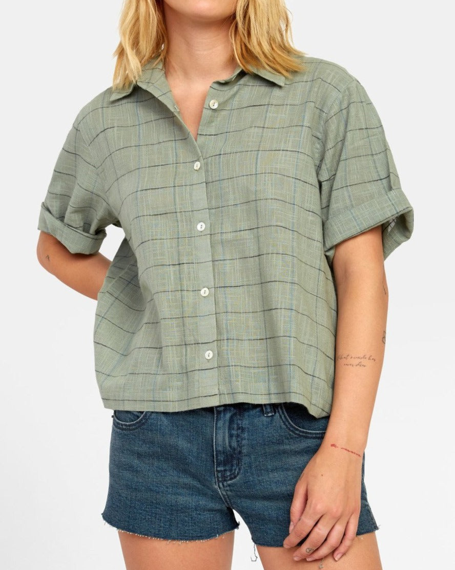 RVCA FOREIGN BUTTON UP SHIRT SEAGRASS