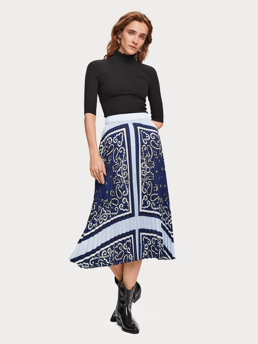 SCOTCH & SODA PLEATED SATIN SKIRT