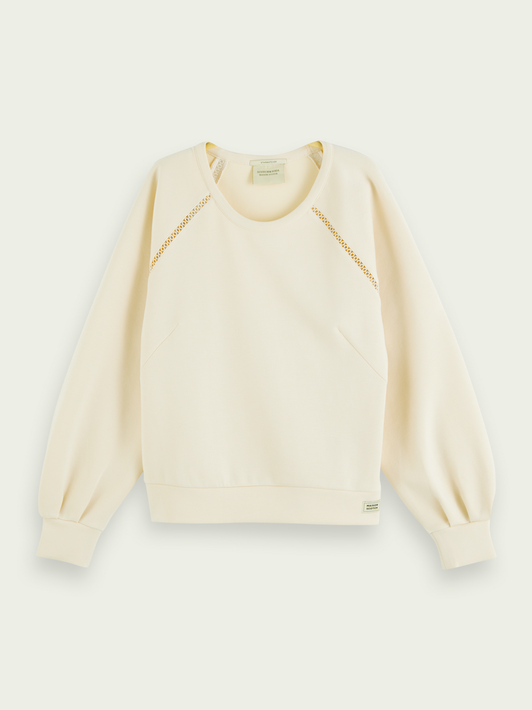 SCOTCH & SODA SOFT TAPE DETAIL CREWNECK SWEATER IVORY