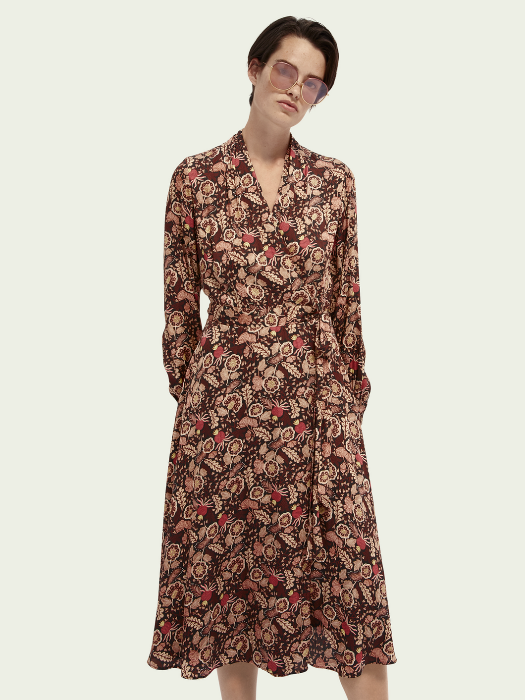 SCOTCH & SODA FLORAL PRINT BELTED MIDI WRAP DRESS
