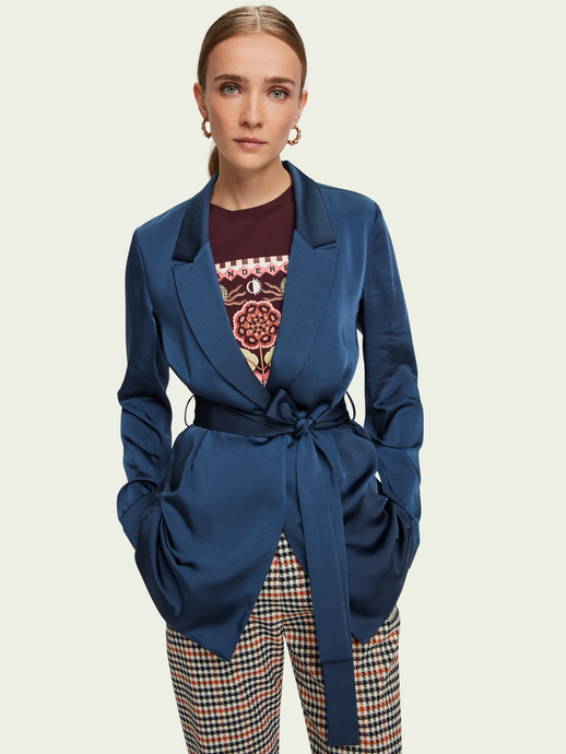 SCOTCH & SODA SATIN-FEEL BELTED DRAPEY BLAZER WILD WATER