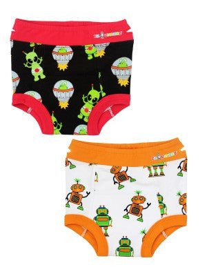 Boy's Aliens & Robots Padded Briefs (2 Pack)
