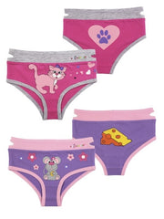 Girl's Kitty & Mouse Briefs (2 Pack)