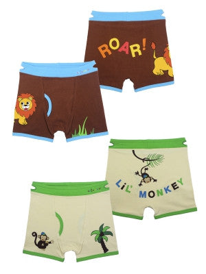 Boy's Lion & Monkey Boxer Briefs (2 Pack)