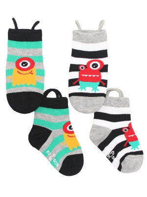 Kid's Monster Stripes Crew (2 Pack)