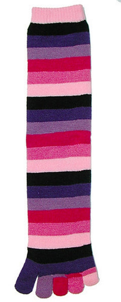 Kid's Pink Rainbow Toe Socks Crew