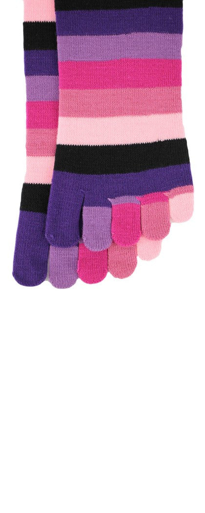 Women's Pink Rainbow Toe Socks Crew