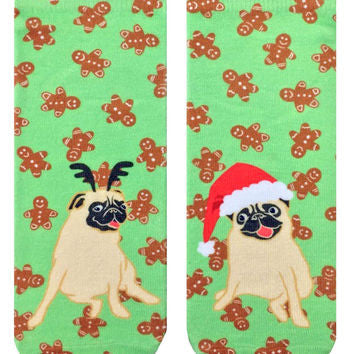 Christmas Pugs Ankle