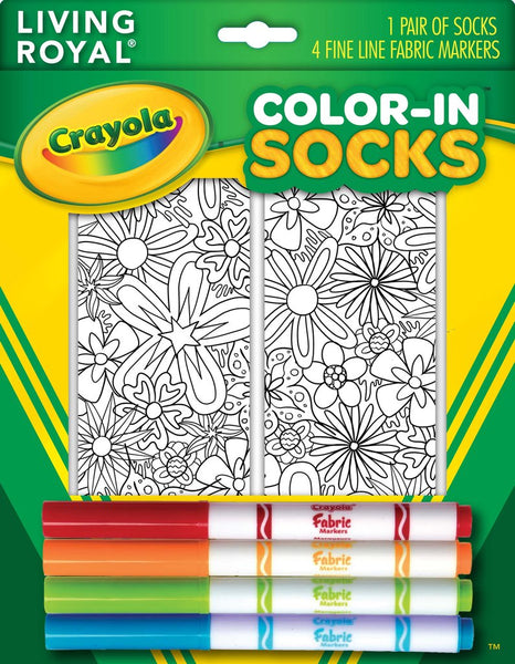 Color-in Floral Ankle Socks