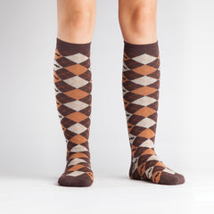 Women's Argyle Mustache Knee High