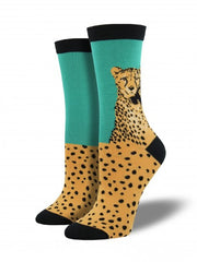 Women's Bamboo Cheetah Head Crew