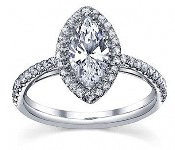 1.25 CT. Marquise French Pave Diamond Ring in White Gold