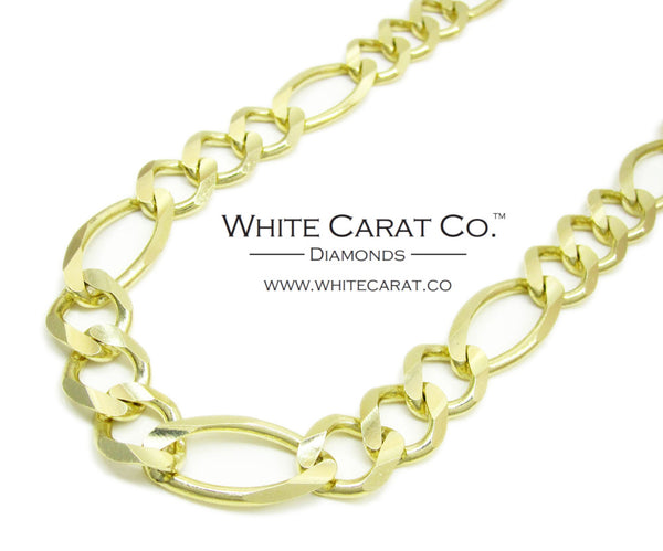 10K Solid Gold Figaro Chain - 12.5 mm