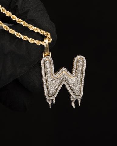 "0.51 CT. Letter ""W"" Diamond Pendant in 10K Gold"