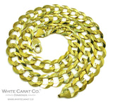 10K Gold Solid Cuban Link Chain - 14 mm