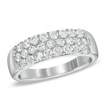 1.00 CT. Three Row Diamond Wedding Band Ring in White Gold