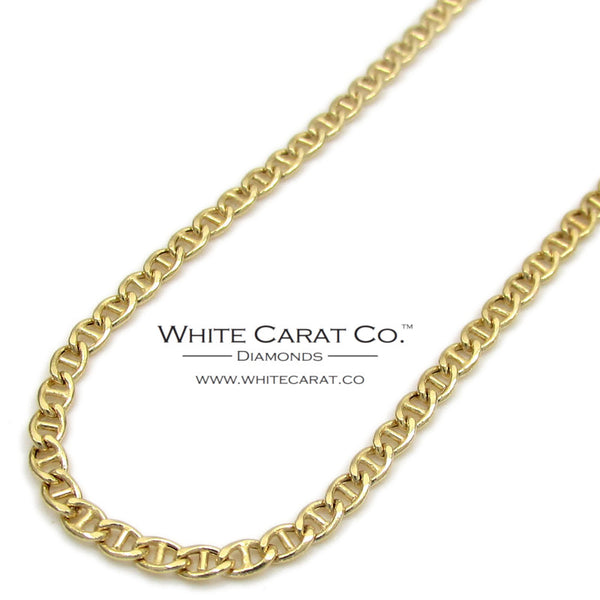 10K Gold Puffed Mariner Link Chain - 2.0 mm