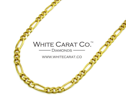 10K Solid Gold Figaro Chain - 2.5 mm