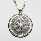 COMBO: 10K White Gold Wheel Pendant & 26 Inch 10K Gold Franco Chain