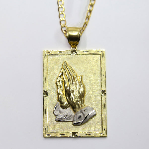 COMBO: 10K Gold Praying Hands Pendant & 30 Inch 10K Gold Cuban Chain