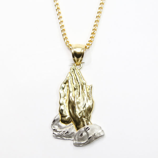 COMBO: 10K Gold Praying Hands Pendant & 28 Inch 10K Gold Franco Chain