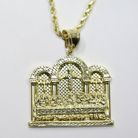COMBO: 10K Gold Last Supper Pendant & 24 Inch 10K Gold Rope Chain