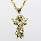 COMBO: 10K Gold Angel Pendant & 22 Inch 10K Gold Rope Chain