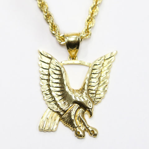 COMBO: 10K Gold Eagle Pendant & 22 Inch 10K Gold Rope Chain