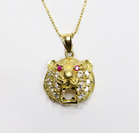 COMBO: 10K Gold Tiger Pendant & 26 Inch 10K Gold Bead Chain