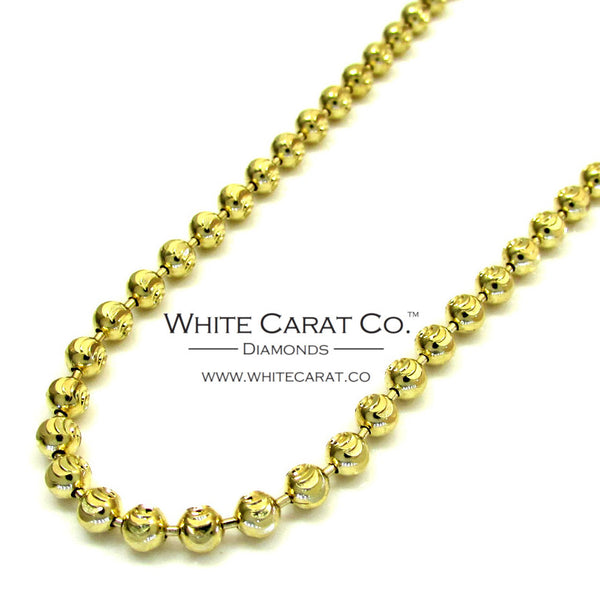 10K Gold Solid Moon Cut Bead Chain - 2.0 mm