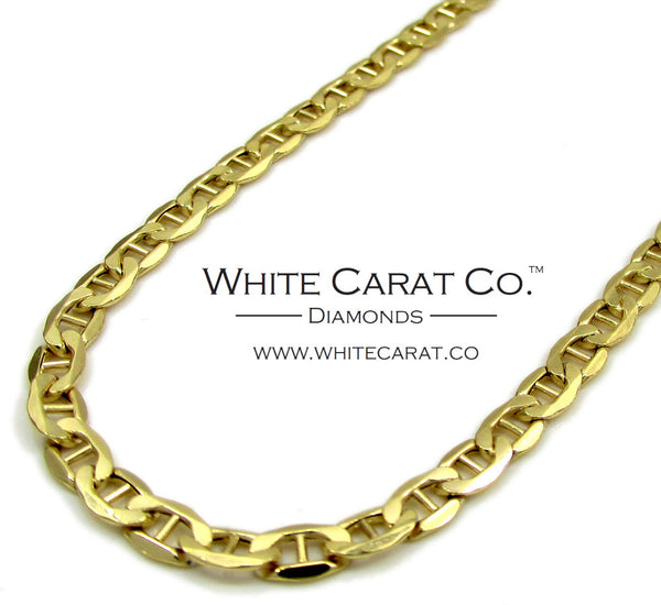 10K Gold Puffed Mariner Link Chain - 3.5 mm