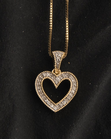 0.10 CT. Ladies Heart Diamond Pendant in 10K Gold