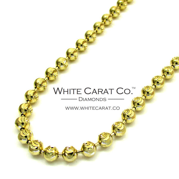 10K Gold Solid Moon Cut Bead Chain - 3.0 mm